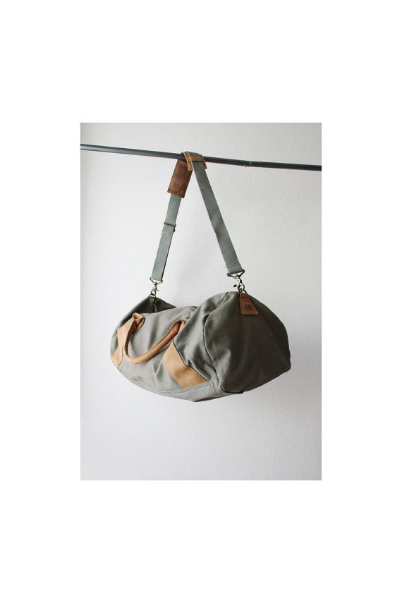 Vintage Army Green Duffel Bag by OiseauVintage on Etsy