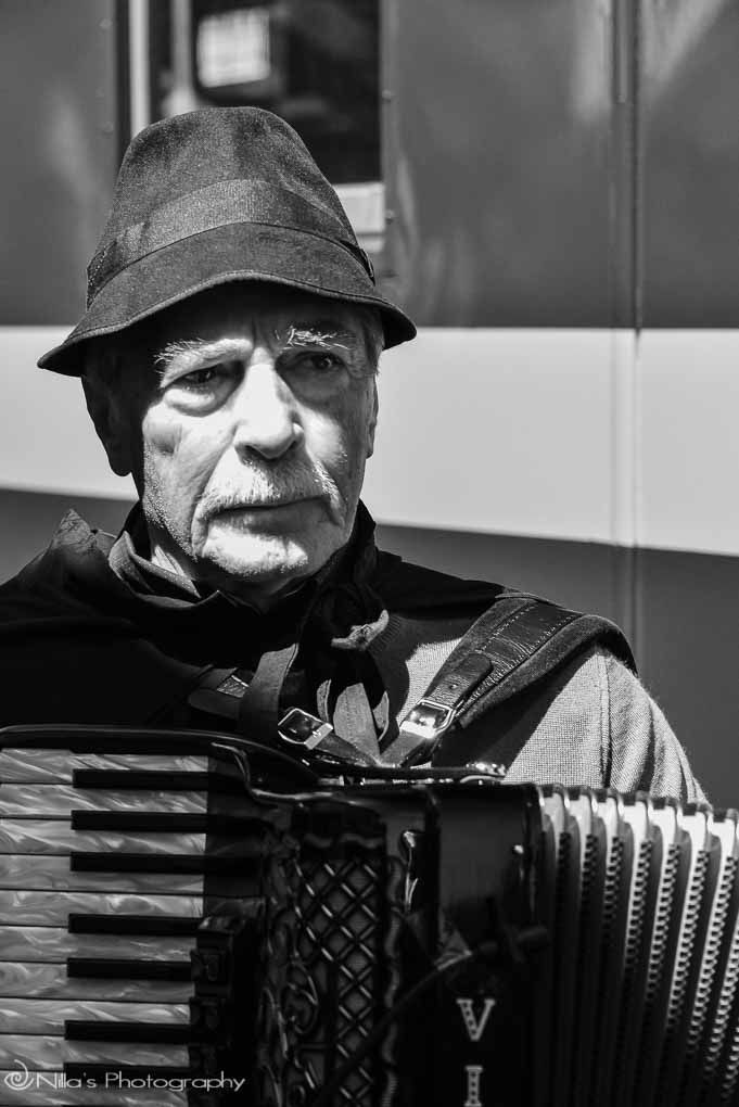 Camigliatello Silano, Calabria, Italy, steam train, musician