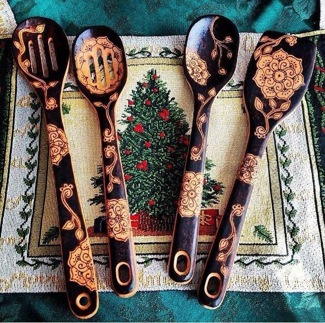 A personal favorite from my Etsy shop https://www.etsy.com/listing/252918009/woodburned-spoons-set-of-4