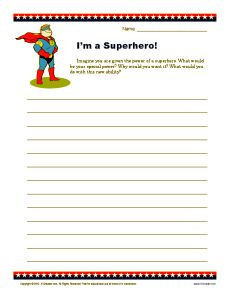 Superhero writing prompt...kids will really get into this one!
