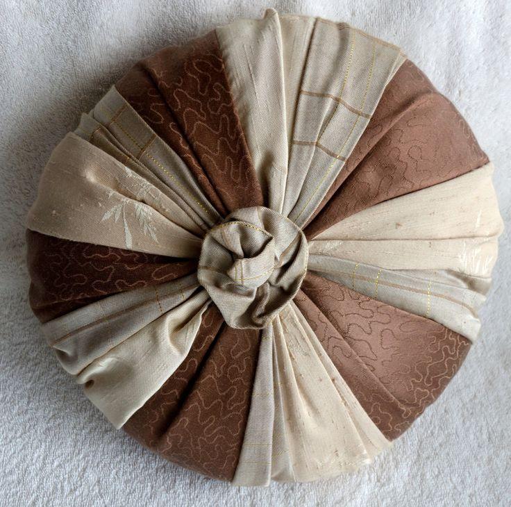 Handmade Vintage Brown Tan And Gold Mixed Fabric Round Toss Pillow,  Chocolate Rosette Pillow, Silk Satin Toss Pillow