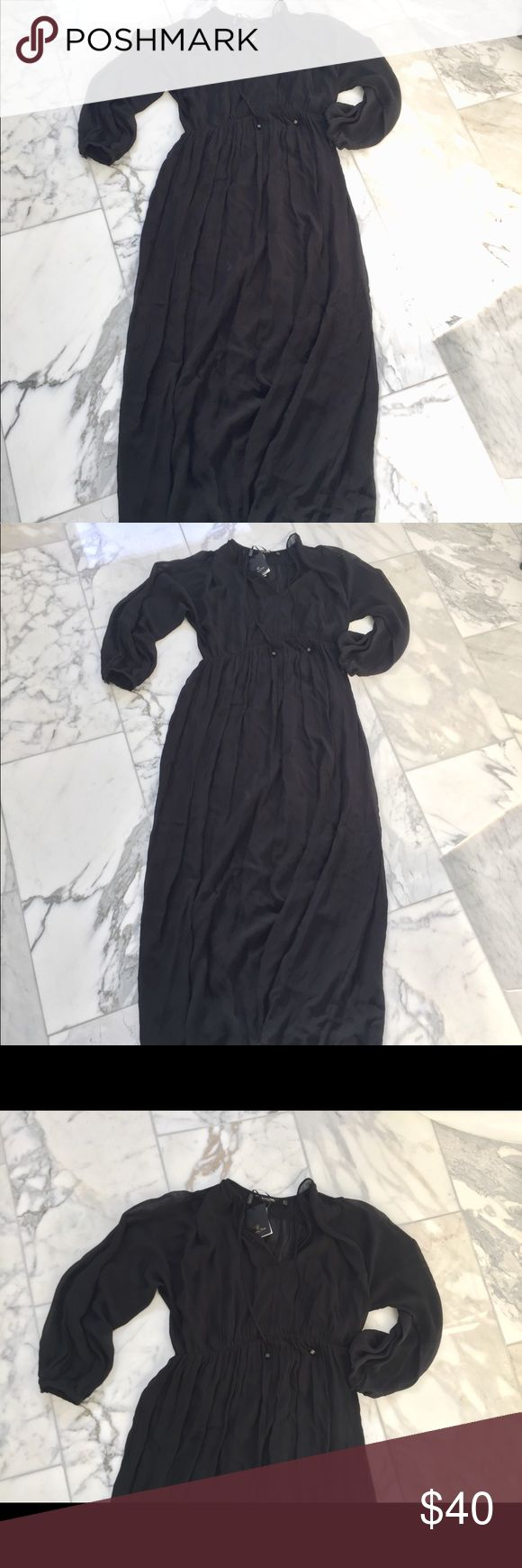 "Massimo Dutti maxi dress Sz S NWT Massimo Dutti Black Maxi Dress -New with Tag  Size:S  Detail:  Long dress with waist seam, made from a flowing fabric. Rounded V-neck and decorative tie-up detail, slightly puffed long sleeves with buttoned cuffs, stretch waist and lining.  Dry clean  Imported  100% viscose.  lining:100% polyester.   Measurements:   Armpit to Armpit:17"", Waist:28"", length:54"".   All the items are guaranteed 100% Authentic Massimo Dutti Dresses Maxi"