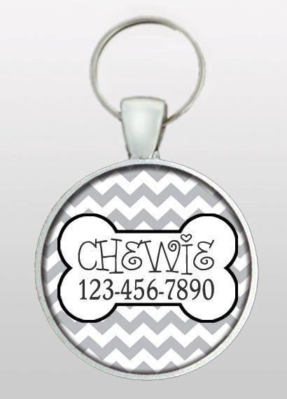 Pet ID Tag - Dog Name Tag - Medium Grey Chevron - Retro Dog Tag - Cat Tag - Dog Tags for Dogs - Pet Tag - Design No. 201 on Etsy, $8.95