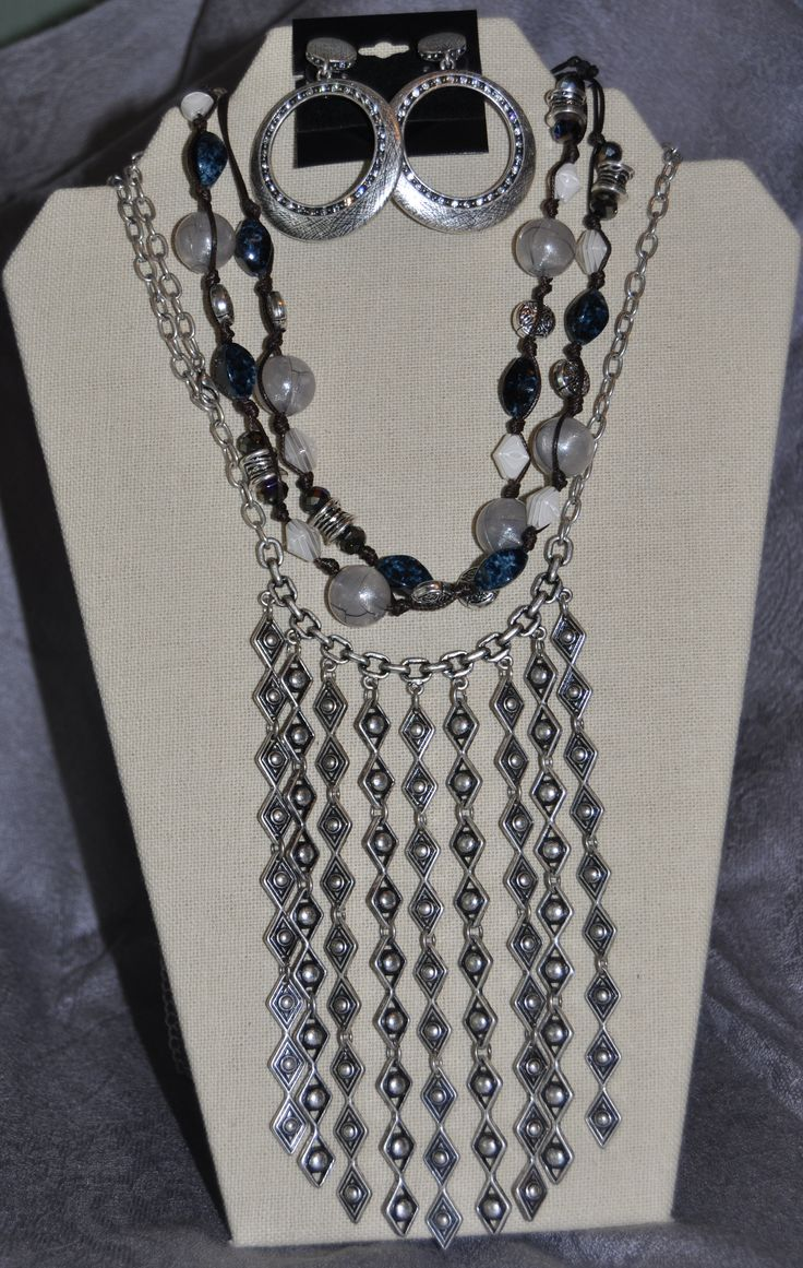Premier Designs Jewelry #PDstyle #jotd View online catalog at www.laurasmith.mypremierdesigns.com Access Code: bling Chambray necklace with the reverse side of Arizona necklace makes a beautiful organic ensemble!  Earrings are Ava.