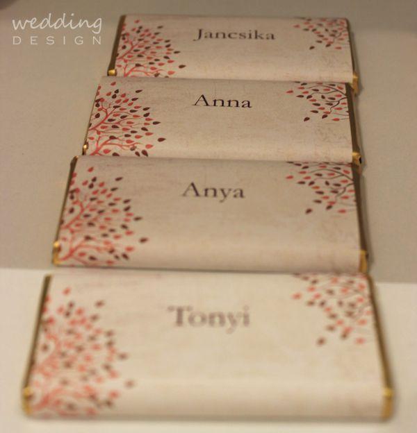 2in1 - Chocolate wedding favour and place cards - Kettő az egyben csokis esküvői köszönetajándék és ültető kártya