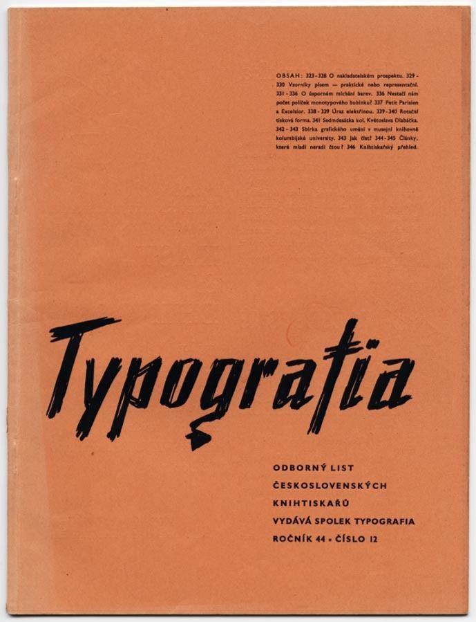 1937 Czech Avant-Garde TYPOGRAFIA Prague New Typography Design + Printing Journ.