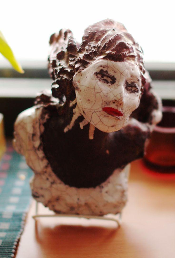 "Sculpture made of raku ceramics. ""Drama Queen"" by Satu Laaninen"