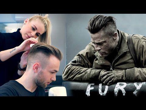 Brad Pitt Hair from FURY   Professional Guide on Mens Undercut - YouTube