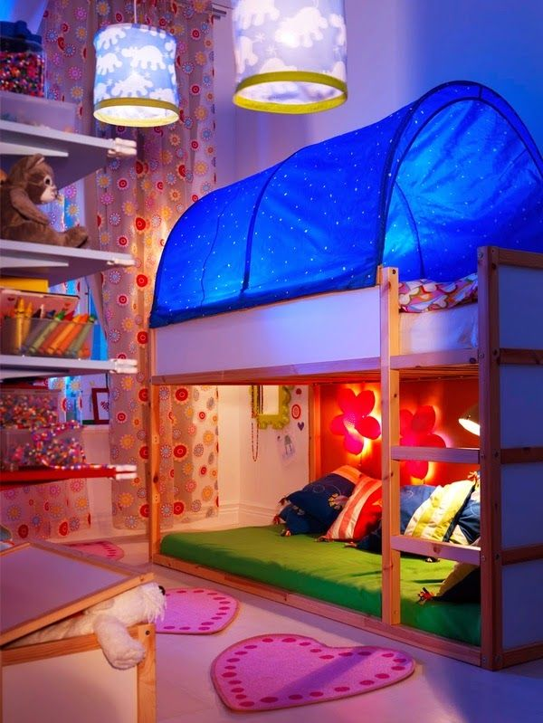 Ikea classical setting, but I really adore this imitation of blue sky. Especially good if you place smal lighh bulbs above it. #Ikea #Kura #Bunkbed