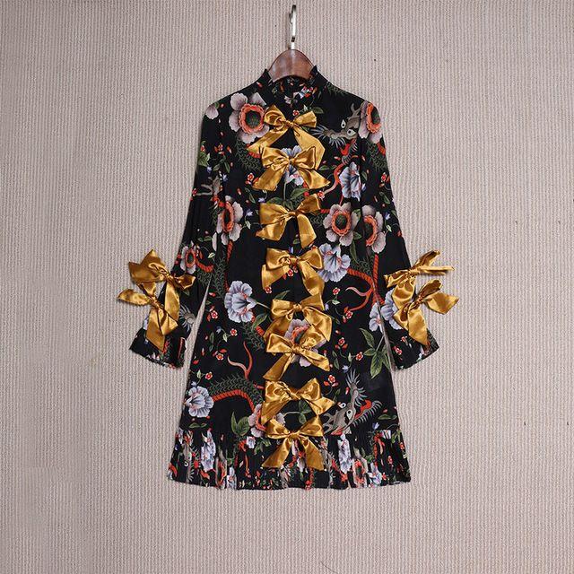 Nuovo 2017 spring fashion donna ragazze carino fiocco appliques manica lunga tubino motivi floreali stampa mini abiti di seta nero