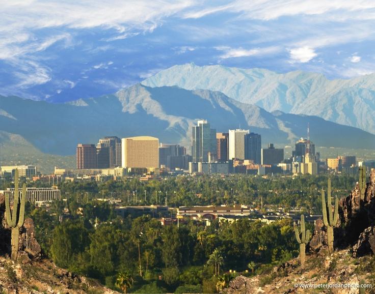 Phoenix, Arizona   Skyline. Way too hot in the summer time. 100 plus