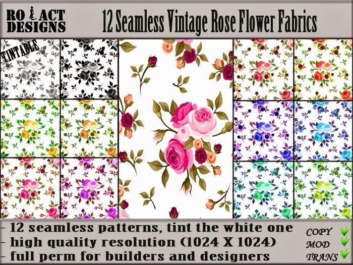Ro!Act Designs 12 Seamless Vintage Rose Flower Fabrics
