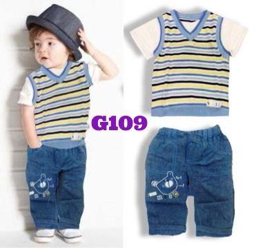 Vest stripe jeans boyset (G109) || size 0-18m || IDR 115.000