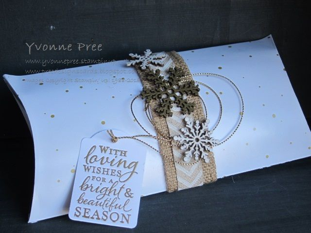 Square Pillow Box die, Snowflake Elements, Stampin' Up!, 2015 Holiday Catalogue, Yvonne Pree, Christmas 2015