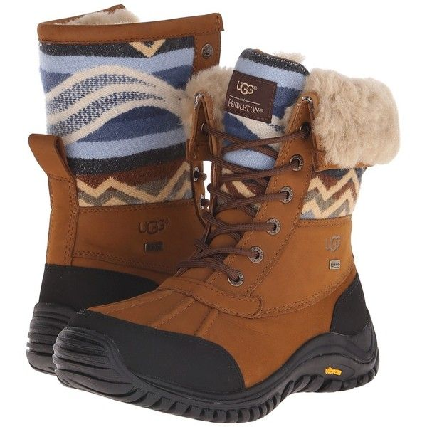 UGG Adirondack Pendleton Women's Boots ($225) ❤ liked on Polyvore featuring shoes, boots, mid-calf boots, water proof boots, water proof shoes, laced boots y print shoes