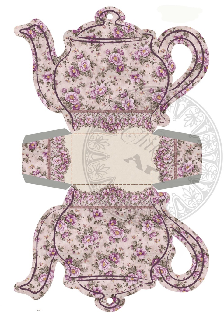 Printable Tea Bag Holder Box - LILAC  TEAPOT - Digital Image Sheet Download - DIY Print and Cut. $3.00, via Etsy.