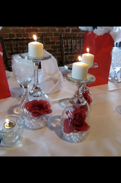 """Bridal Shower """"Head over Heels in LOVE"""" head table centerpieces!"""
