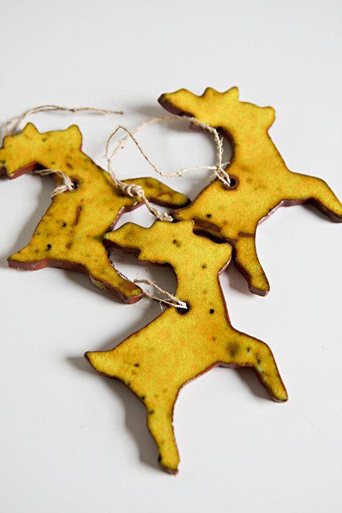 Reindeer ornaments ceramic Christmas tree decorations by karoArt