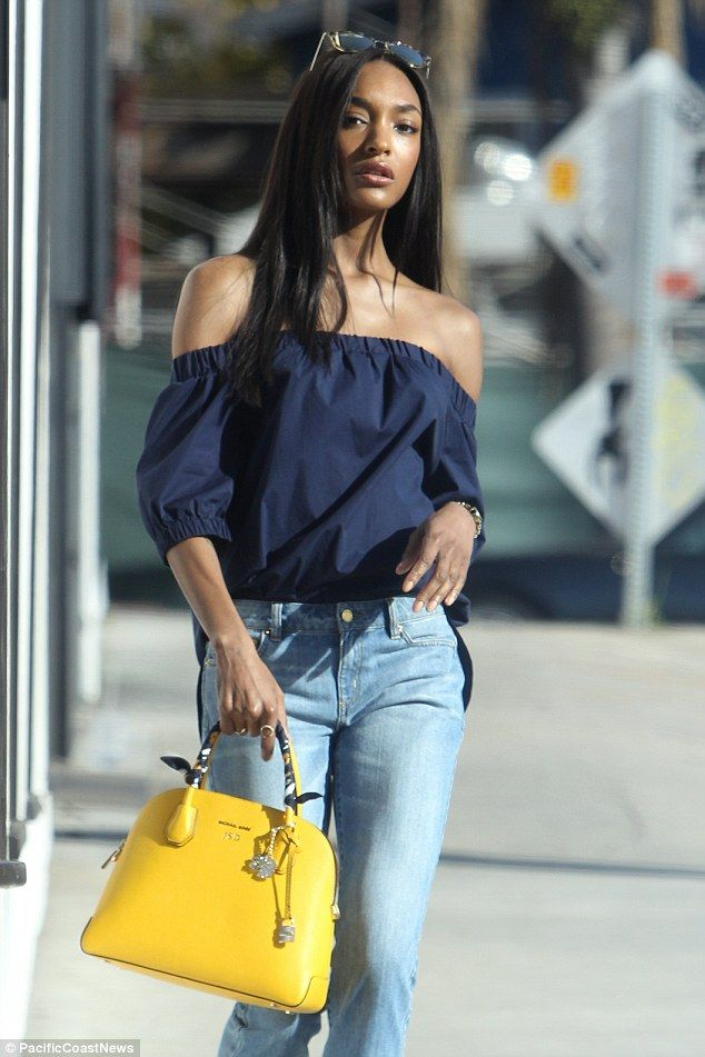 Blue-tiful!Showing off her decotellage, Jourdan donned a navy bardot top that billowed ov...