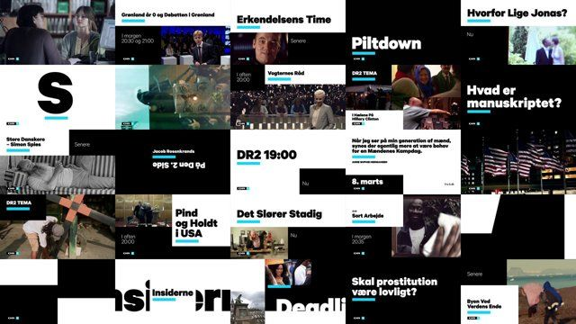 Channel rebranding of Danish Broadcasting Corporations news and society channel DR2.  Design: DR Design Audio: Alva Noto Client: Michael Thouber