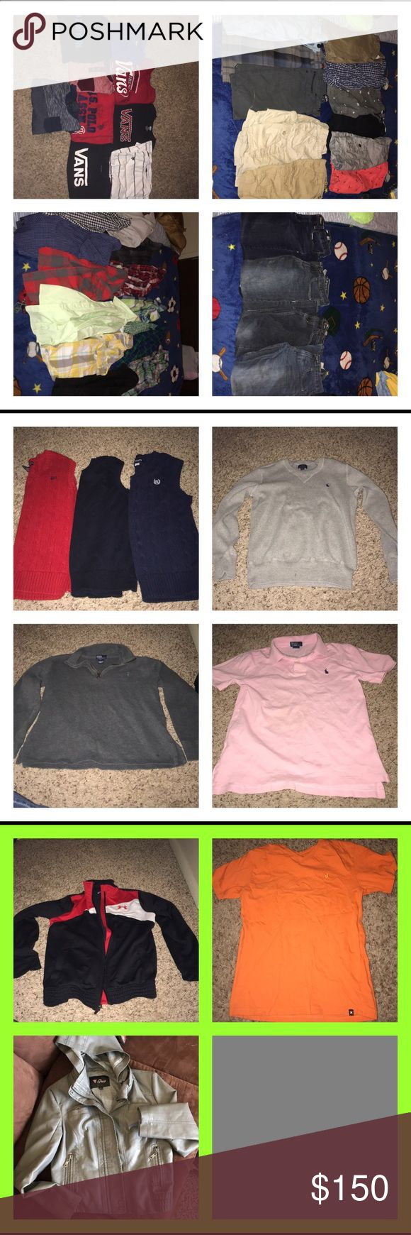 Boys 10/12 bundle All items listed separately or as a bundle. 45-47 items. Many different brands.  Vans, Hurley, us polo, polo by Ralph Lauren, zoo York, under armour, epic threads, American cruder and ocean current, guess, children's place, chaps and many more!! I'm giving a better deal if you take it all. I want it out! Too much clutter.  If you want individual items I will sell them $5/each (if brand name) Vans Other