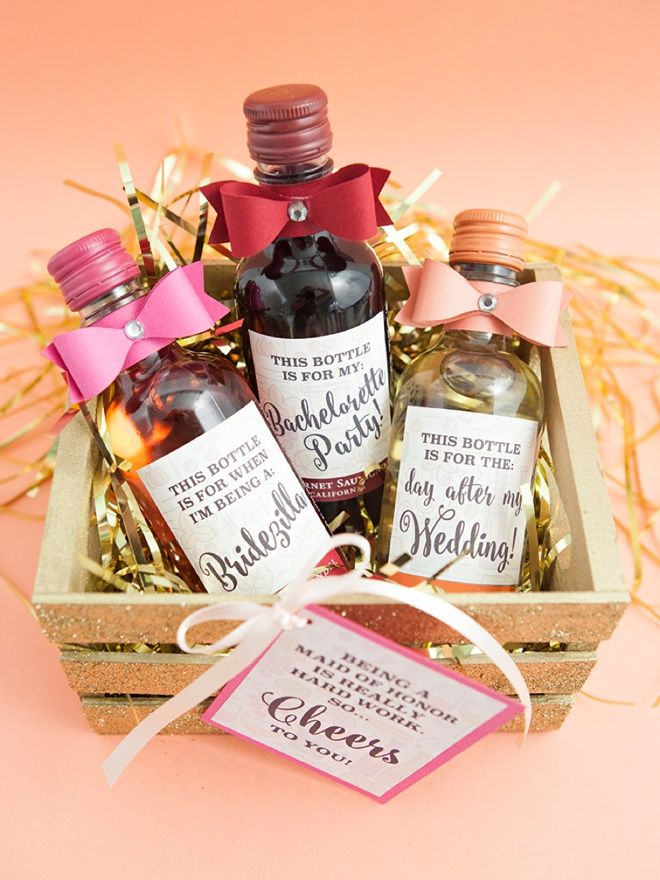The most adorable diy mini wine bottle bridesmaid gift for Diy wine bottle gifts