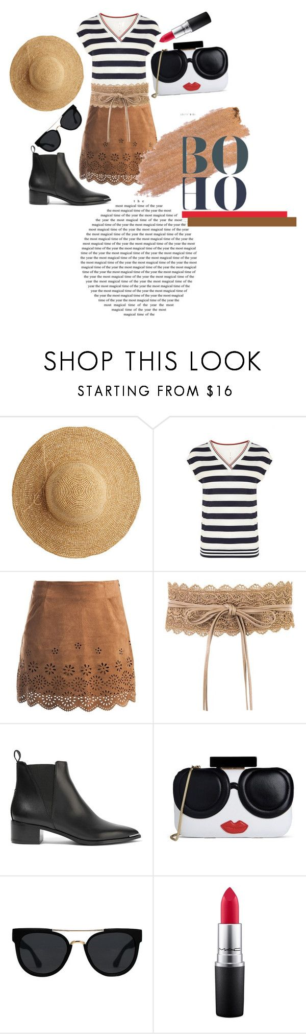 """Boho-City Look"" by karimaputri on Polyvore featuring Flora Bella, Karen Millen, Sans Souci, Acne Studios, Alice + Olivia, Quay, MAC Cosmetics, Jane Iredale and stripedshirt"
