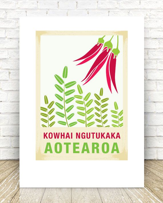 Kowhai Ngutukaka illustration. A3 print – New Zealand native flower series. Perfect gift for any occasion. Reproduced digitally on Mohawk Felt