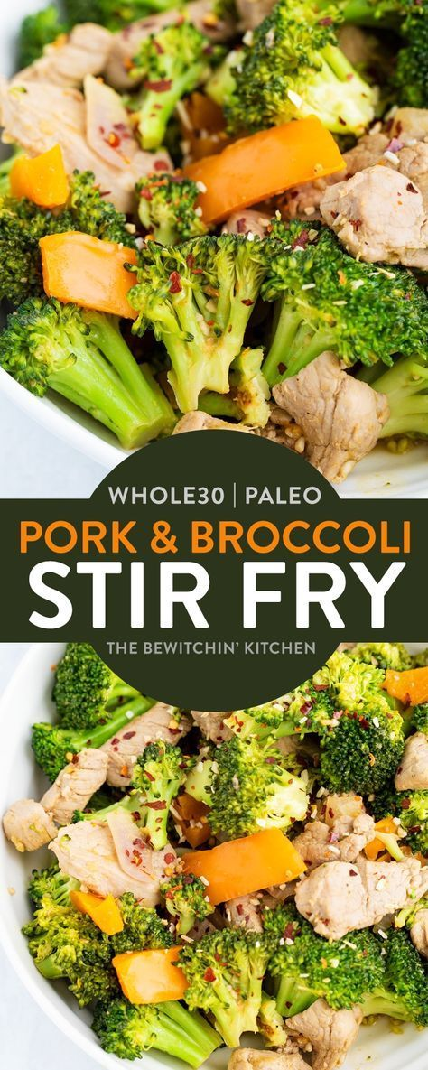 Pork Broccoli Garlic Stir Fry - This Whole30 stir fry recipe is perfect for dinner when you don't have much time. Ready in under 15 minutes and it's a healthy recipe that's not only a low calorie dinner but also high in fiber. Keto, Paleo, and 21 Day Fix approved! #broccolistirfry #porktenderloinrecipes #cleaneatingrecipes #21dayfixrecipes #80dayobsessionrecipes #ketorecipes #paleorecipes #whole30recipes #whole30dinners #stirfryrecipes #thebewitchinkitchen #lowcalorierecipes…