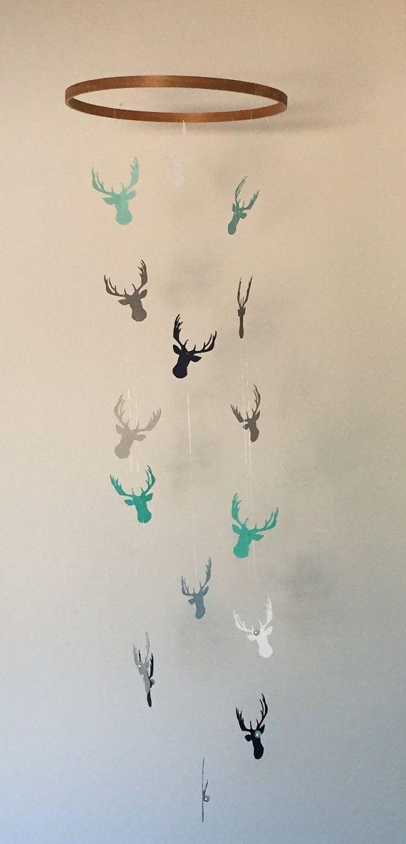Woodland Deer Antler Mobile by GemstoneBabies on Etsy