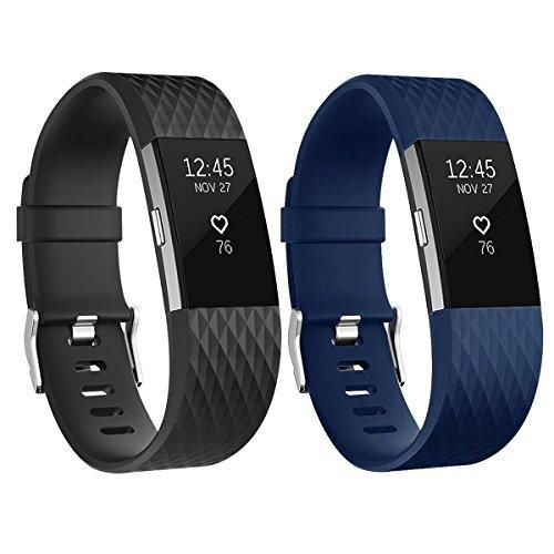 For Fitbit Charge 2 Bands Adjustable Replacement Bands with Metal Clasp for Fitbit Charge 2 Wristbands Special Edition Black Navy Large