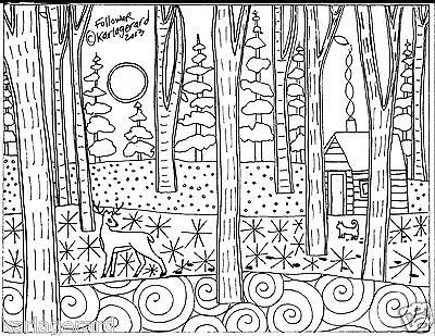 Deer-de-gancho-padrao-de-papel-seguidor-arte-popular-tapete-gato-chale-inverno-woods-Karla-G