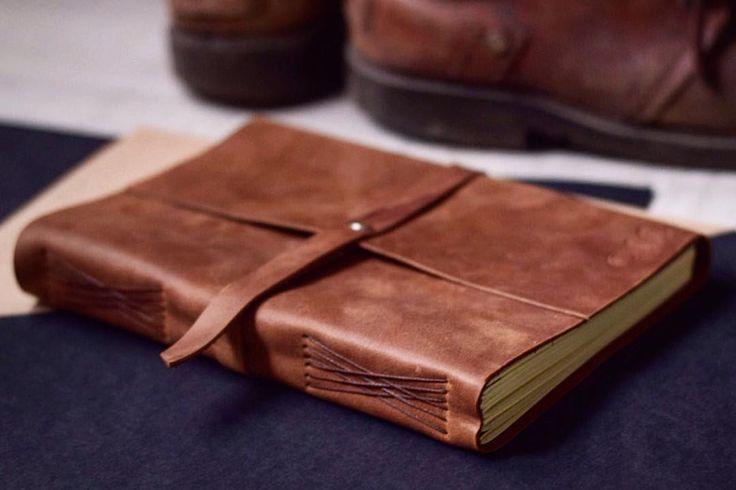 Кожаный блокнот А5 с ремнем на кнопке. Кожаная записная книжка с ремнём. | «Ламбада-маркет»