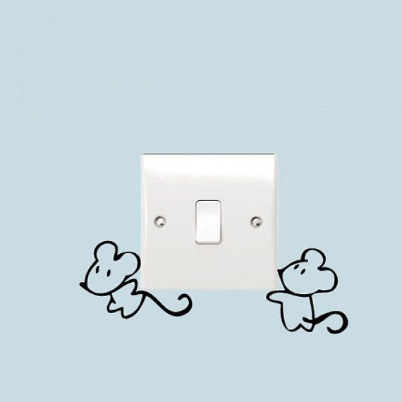 Cute Mice Vinyl Stickers for Light Switch / Plug Socket Walls Art Decoration