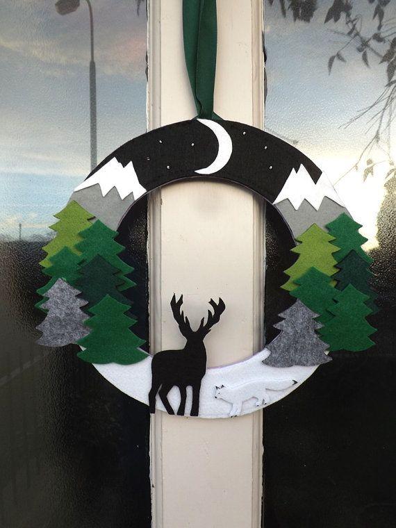 Winter Wreath, Door Wreath, Mountain Decor, Cabin Decor, Forest, Arctic Fox, Stag Decor, Outdoor wreath, Felt Wreath