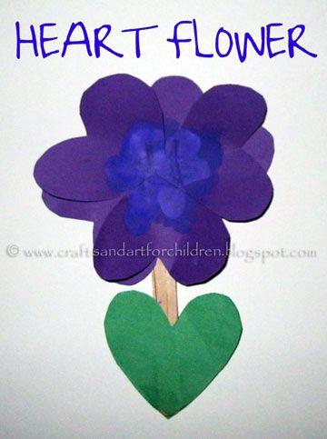 Heart Flower Kid's Craft: Crafts Acting, Crafts Ideas, Flowers Crafts, Crafts N Th, Kids Crafts, Valentines Flowers, St. Valentines, Valentines Day Crafts, Flowers Kids