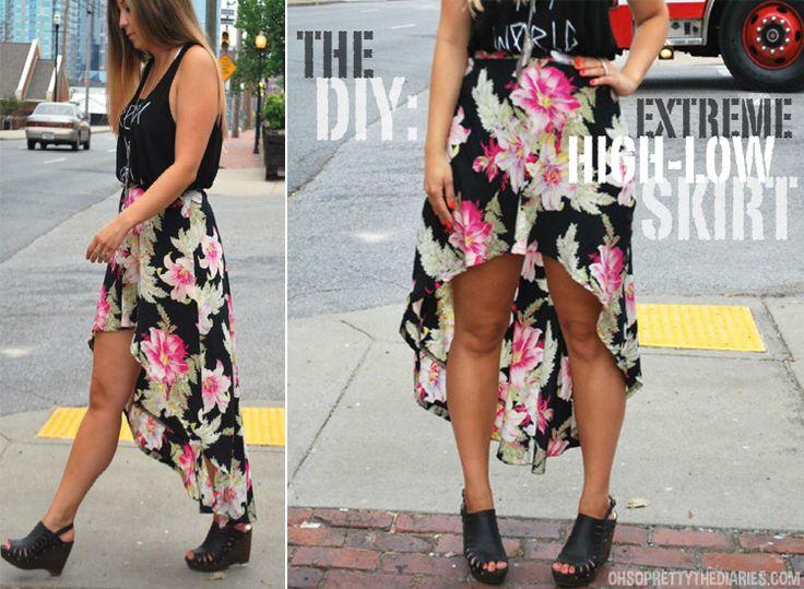 DIY High-Low Skirt: Diy Highlow Skirts, Extreme High, Diy Thrift Clothing, Diy High Low Skirts, Diy Clothing, Thrift Stores Clothing Diy, Make Clothing, Circles Skirts, Asymmetrical Skirts