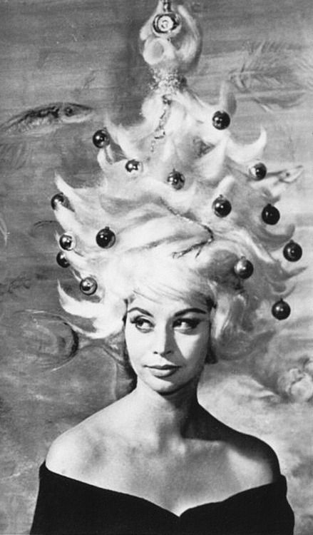 Model with Christmas tree hair, 1962.