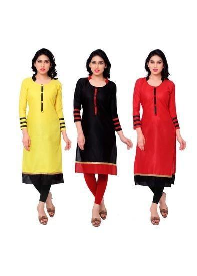 LadyIndia.com # Kurtas, Fabulous Cotton Yellow Black Red Kurti For Women, Kurtis, Kurtas, Cotton Kurti, https://ladyindia.com/collections/ethnic-wear/products/fabulous-cotton-yellow-black-red-kurti-for-women
