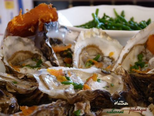 Huîtres poutargue et salicorne