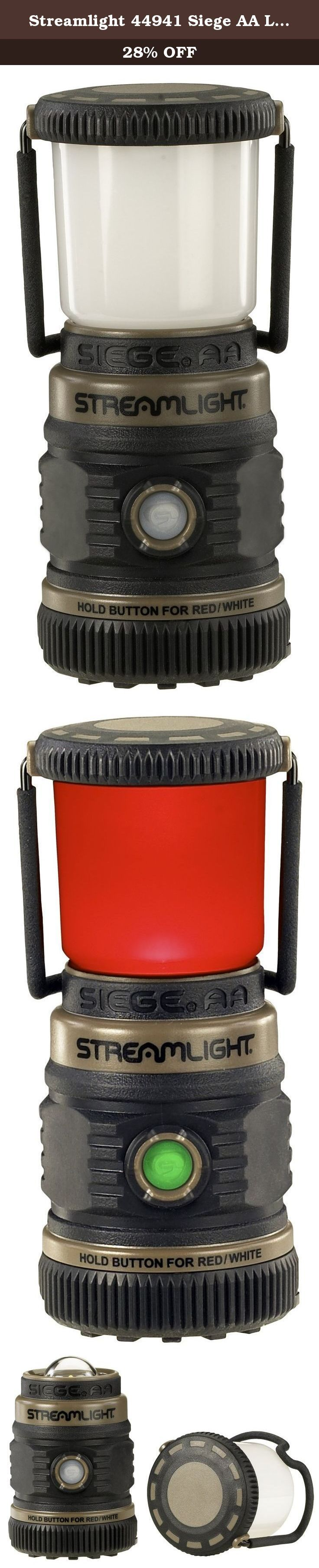 Streamlight 44941 Siege AA Lantern. A rugged, compact lantern for when you need a lot of light without it taking up a lot of space. The Siege AA uses affordable, easy -to-find AA alkaline batteries to provide a 360 degrees of soft, even light that illuminates a large area. The Siege AA offers multiple modes, white C4 LED and red LED (2 red lights) for night vision preservation. Batteries not included.