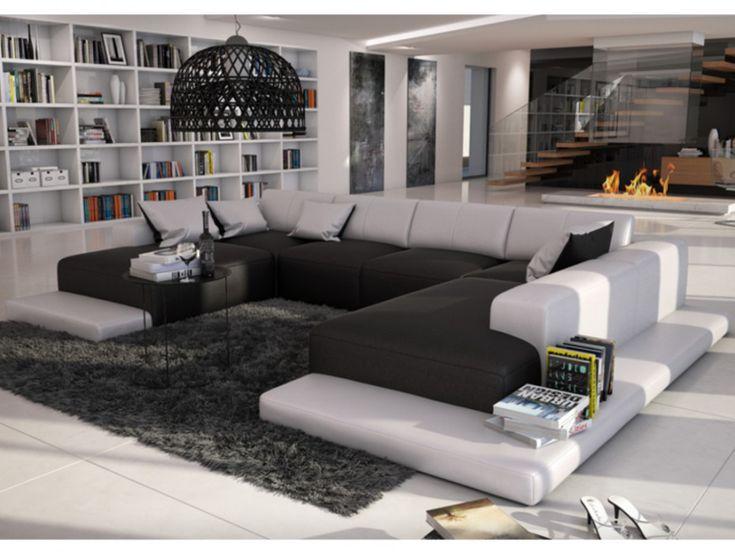Canapé panoramique 7 places en simili SCOSY - Bicolore noir et blanc