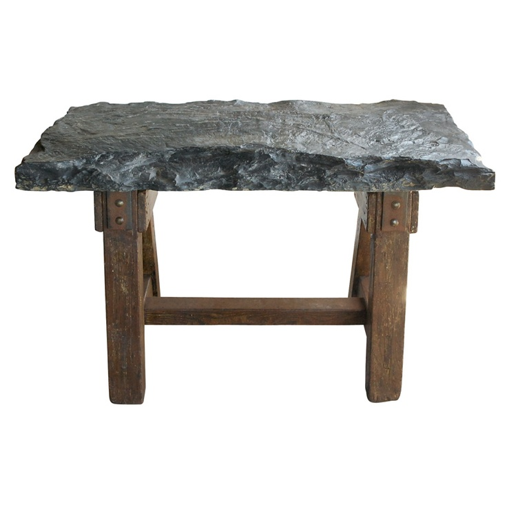 Antique Work Table From France With Huge Bluestone Slab