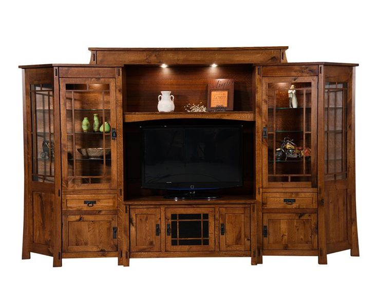 Amish Modesto Six Piece Entertainment Center Wall Unit You'll love the lighting and brightness control features of the Modesto, all controlled by the wave of your hand.