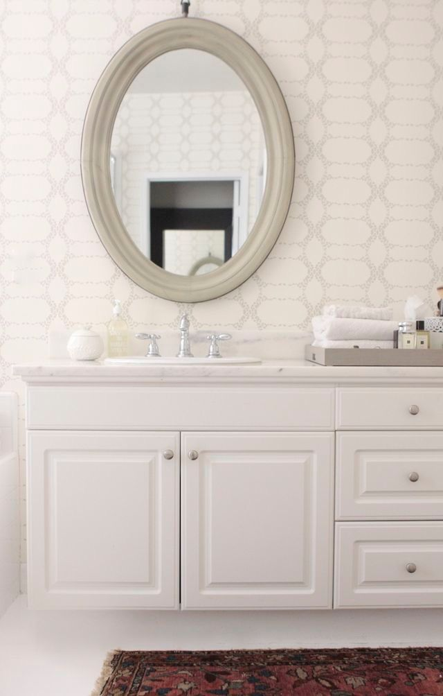 Elizabeth Geometric Wallpaper. White BathroomsWhite Bathroom VanitiesMaster  ...