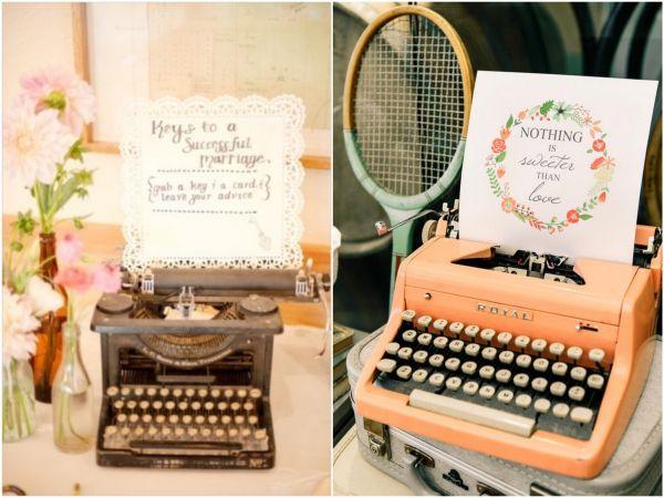 Máquina de Escrever na Decoração de Casamento Rústico, Romântico e Vintage  | Typewriter in Rustic Weddings Decor