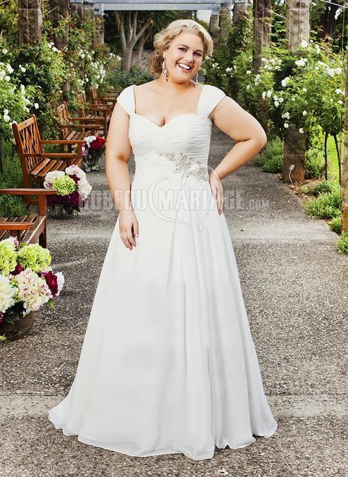 Grande taille robe de mariée chiffon col en cœur broderie organza [#ROBE209998] - robedumariage.com