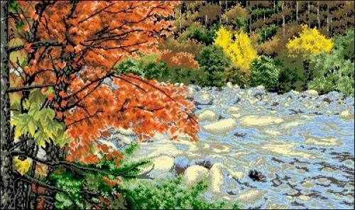 Канва с рисунком Гелиос П-072 Клен у бурной реки