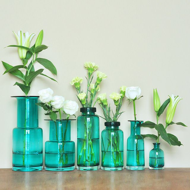 Чистой воды синий ручной работы стекло флористики устройство гидропоники растения американский стиль украшения дома ваза