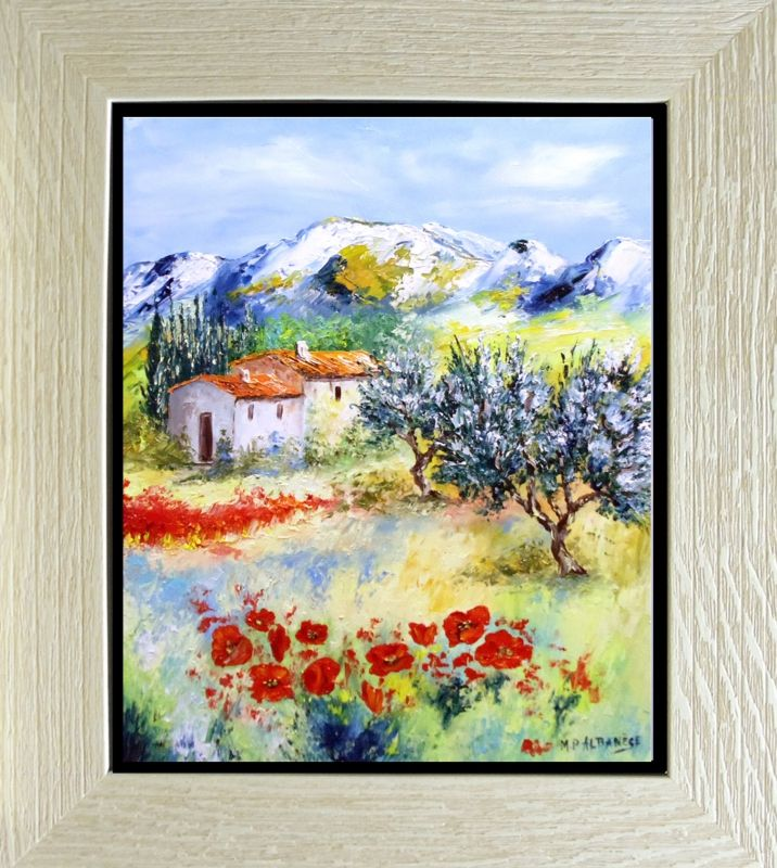 TABLEAU PEINTURE Tableaux de Provence Coquelicots, olivier Paysage de ...